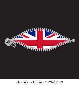 Opened zipper revealing United Kingdom of Great Britain flag