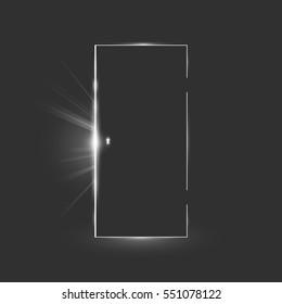 Opening black door in a dark room with shining light. Vector illustration eps 10 & Light Shines On The Door Images Stock Photos \u0026 Vectors   Shutterstock