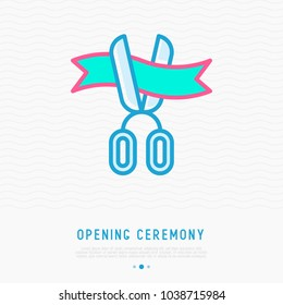 Opening ceremony symbol: scissors cutting ribbon thin line icon. Modern vector illustration.