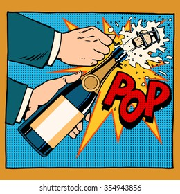 opening champagne bottle  pop art retro style. Wedding, anniversary, birthday or new year. Alcoholic beverages wine and restaurants. Drink. Explosion foam tube moment of triumph. Your brand here
