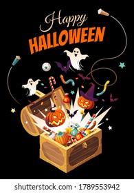 Eröffnet eine Brust mit Süßigkeiten, Kürbissen, Gespenstern und Fledermäusen. Vertikales Halloween-Banner mit Cartoon-Charakter und Text einzeln auf schwarzem Hintergrund.