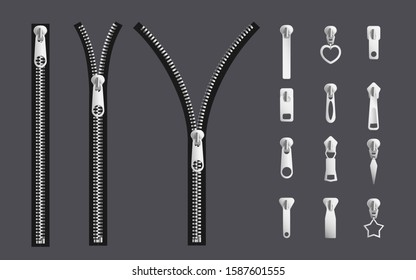 Opening and closed zipper and its parts - silver steel metal realistic fabric fastener collection with different shapes of slider puller. Isolated vector illustration.