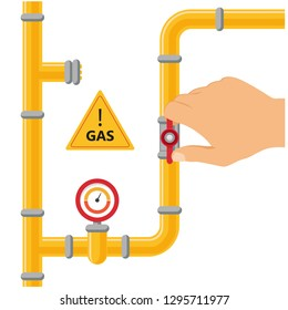 Opening or closing the gas pipeline gate, pipeline with valve and manometer. Arm opens or closes pipeline valve, gas pipe shut off. Vector illustration.