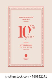 Opening Discount Table Tent Card, Poster, Flyer. Design Template for Cafe, Restaurant, Shop, Store. 10% Off.