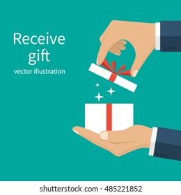 Opening gift holding in the hands of men. Give, presenting gift with red ribbon. Vector illustration flat design. Isolated on background. Celebration concept.