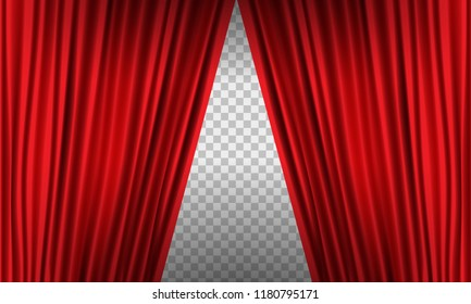 Opening Realistic red curtain with high detail. Vector illustration.
