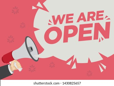Opening Retail Sale promotion shoutout with a megaphone speech bubble against a red background. Concept of sales, consumerism or marketing. Flat vector illustration.