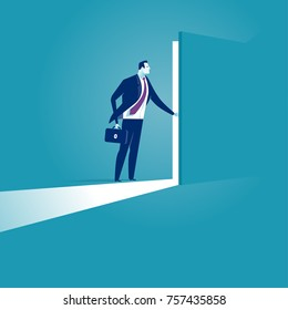 Opening the secret door. Business illustration
