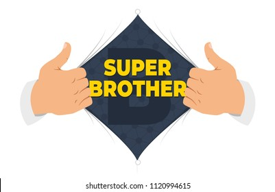 "Opening shirt brother vector illustration. Man open shirt to show ""Brother"" sign in flat cartoon style. Open shirt, good,  elder brother, protection, support. Concept of a greeting card for brother"