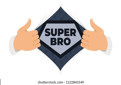 """Opening shirt brother vector illustration. Man open shirt to show """"Brother"""" sign in flat cartoon style. Open shirt, good brother, protection, support. The concept of a greeting card for brother"""