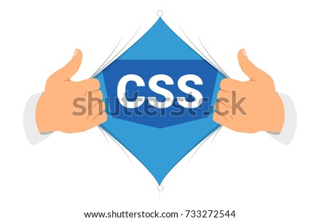 "Opening shirt CSS 3 vector illustration. Man open shirt to show ""CSS"" sign in flat cartoon style. Open shirt code, programmer concept"