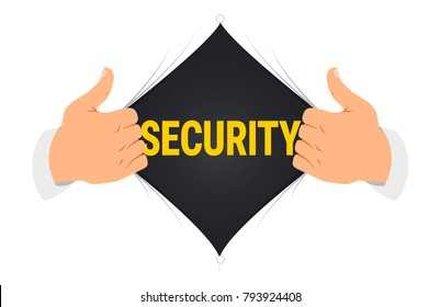 "Opening shirt ""security"" vector illustration. Man open shirt to show ""security"" text in flat cartoon style. Open shirt, protection, security, hidden protection concept"
