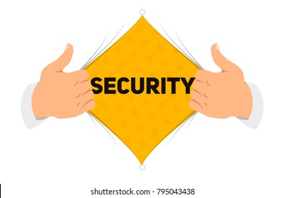 """Opening shirt security vector illustration. Man open shirt to show """"security"""" sign in flat cartoon style. Open shirt, protection, security, hidden protection concept"""