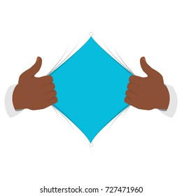 Opening shirt vector illustration. Black man open shirt to show an empty T-shirt in flat cartoon style. Open shirt concept
