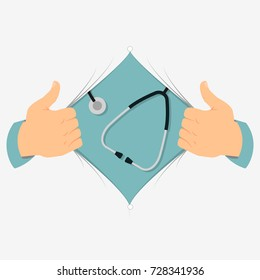 Opening shirt vector illustration. Man open shirt to show medical sign and phonendoscope in flat cartoon style. Open shirt medical concept. Doctor inside you