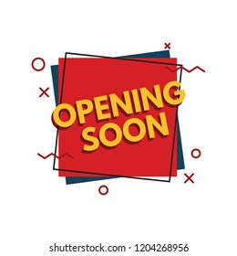 Opening soon banner with memphis style