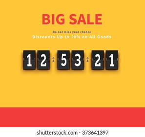 Opening soon timer.Discount and savings banner, big sale offer, countdown time illustration.