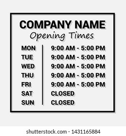 Opening Time Hours Window Sticker