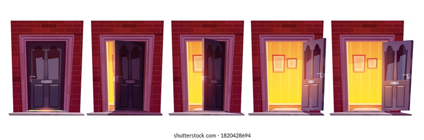 Opening wooden front door in brick wall isolated on white background. Vector cartoon set of house entrance, hall interior behind closed, ajar and open doors in building facade