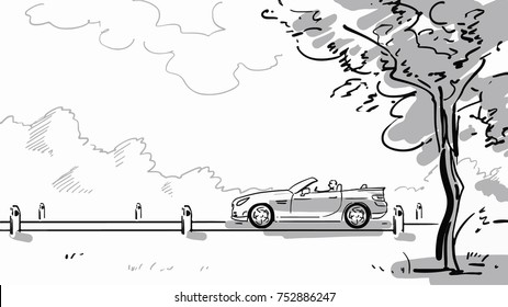 An open-top car rides along a rural road. Black and white vector sketch. Simple drawing.