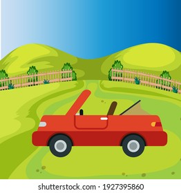 Open-top passenger car standing on a field background, green field with a fence, blue sky, vector illustration on a green background