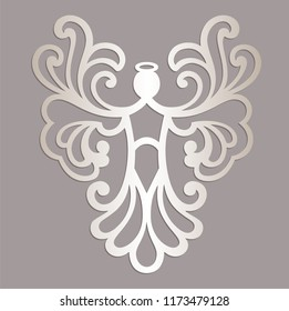 Openwork angel silhouette. Laser cut Christmas carved angel. Greeting card, Ornate stencil. For carving, paper cutting.