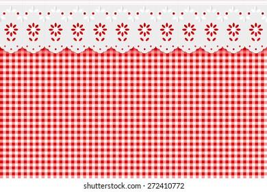 Openwork background on red checkered pattern background