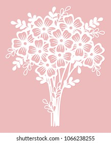 Openwork bouquet of flowers. Laser cutting template suitable for decorations, cards, interior decorative elements.