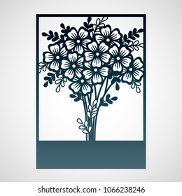 Openwork card with bouquet of flowers. Laser cutting template suitable for decorations, cards, interior decorative elements.