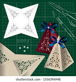 openwork for cutting knife:  little triangular box with a pattern of swirls and template