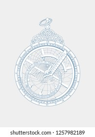 Openwork cutting on paper. Astrolabe with vignettes and patterns. Souvenir navigation 