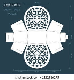 Openwork favor box with a lace ornament. Wedding bonbonniere. Laser cutting