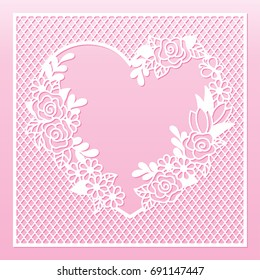 Openwork floral frame with heart and roses. Laser cutting template for decoration, greeting cards, envelopes, invitations, interior decorative elements.