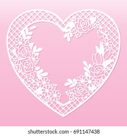 Openwork floral frame in the shape of a heart. Laser cutting template for decoration, cards, interior decorative elements.