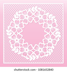 Openwork floral wreath. Laser cutting vector template for greeting cards.
