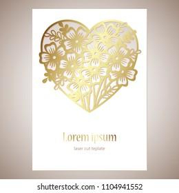 Openwork golden heart with flowers. Vector decorative element.