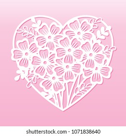 Openwork heart with bouquet of flowers. Laser cutting template.