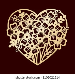 Openwork heart with flowers. Laser cutting or foiling template.