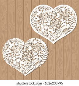 Openwork heart with flowers. Vector decorative element. Laser cutting template for greeting cards, envelopes, wedding invitations, interior elements