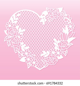 Openwork heart with roses. Laser cutting template for decoration, greeting cards, interior decorative elements.