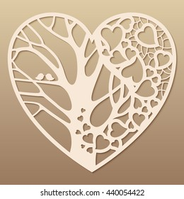 Openwork heart with a tree inside. Laser cutting template for greeting cards, envelopes, wedding invitations, decorative art objects.