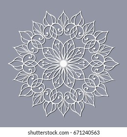Openwork mandala for design. Pattern for laser or plotter cutting.