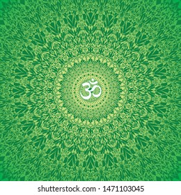 Openwork mandala in green colors. Aum / Ohm / Om sign in the center. Spiritual and sacral symbol. Vector graphics.