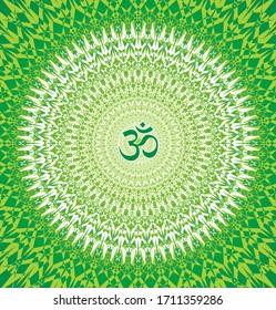 Сircle openwork mandala. Green and yellow,  colors. Sign Aum / Om / Ohm in center. Spiritual esoteric symbol. Vector graphics art.