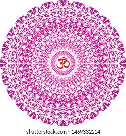 Openwork mandala in purple and red colors. Aum / Ohm / Om sign in the center. Spiritual and sacral symbol. Vector graphics.