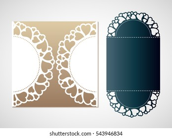 Openwork pattern of hearts. Vector Laser cutting template for an envelope.
