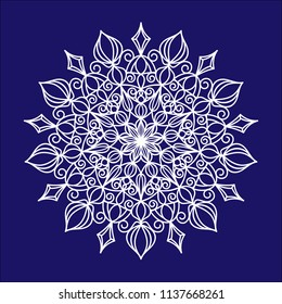 Openwork snowflake for design. Pattern for laser or plotter cutting.