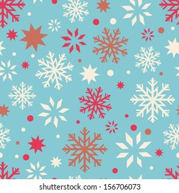 Openwork snowflakes seamless pattern. Winter endless background