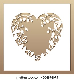Openwork square card with heart and lilies of the valley. Laser cutting template for greeting cards, envelopes, invitations, interior decorative elements.