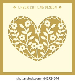 Openwork square card with heart silhouette, flowers and leaves. Laser cutting template pattern. Beautiful vector design for greeting cards, stencil, wedding favor box, gift box, paper, wood cutting.